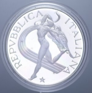 obverse: 500 LIRE 1987 ATLETICA NC AG. 11 GR. IN COFANETTO PROOF