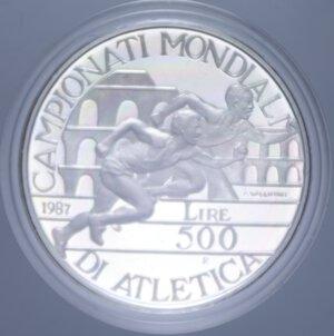 reverse: 500 LIRE 1987 ATLETICA NC AG. 11 GR. IN COFANETTO PROOF
