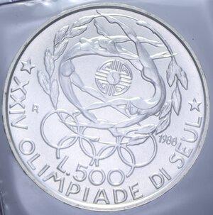 reverse: 500 LIRE 1988 OLIMPIADE DI SEUL AG. 11 GR. IN FOLDER FDC