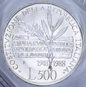 reverse: 500 LIRE 1988 COSTITUZIONE AG. 11 GR. IN FOLDER FDC