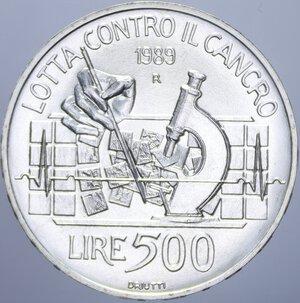 reverse: 500 LIRE 1989 LOTTA CONTRO IL CANCRO AG. 11 GR. FDC