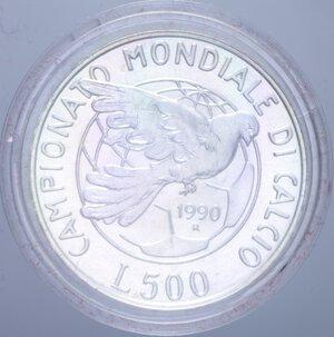 reverse: 500 LIRE 1990 MONDIALI DI CALCIO ITALIA  90 AG. 11 GR. IN COFANETTO FDC