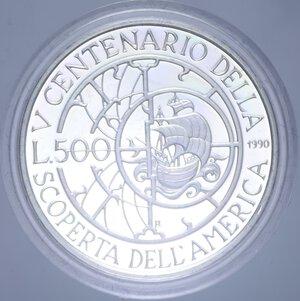 reverse: 500 LIRE 1990 SCOPERTA DELL AMERICA SECONDA EMISSIONE NC AG. 11 GR. IN COFANETTO PROOF