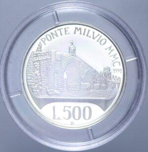 reverse: 500 LIRE 1991 PONTE MILVIO NC AG. 11 GR. IN COFANETTO PROOF