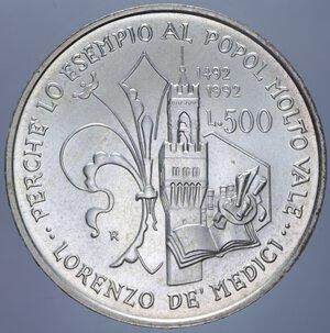 reverse: 500 LIRE 1992 LORENZO IL MAGNIFICO AG. 15 GR. FDC