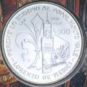 reverse: 500 LIRE 1992 LORENZO IL MAGNIFICO AG. 15 GR. IN FOLDER FDC