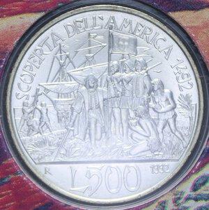 reverse: 500 LIRE 1992 SCOPERTA DELL AMERICA QUARTA EMISSIONE AG. 11 GR. IN FOLDER FDC
