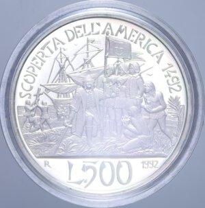 reverse: 500 LIRE 1992 SCOPERTA DELL AMERICA QUARTA EMISSIONE NC AG. 11 GR. IN COFANETTO PROOF