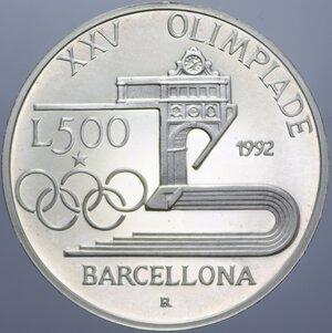 reverse: 500 LIRE 1992 OLIMPIADE BARCELLONA AG. 15 GR. PROOF