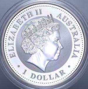 reverse: AUSTRALIA ELISABETTA II 1 DOLLARO 2004 SCIMMIA AG. 31,11 GR. PROOF