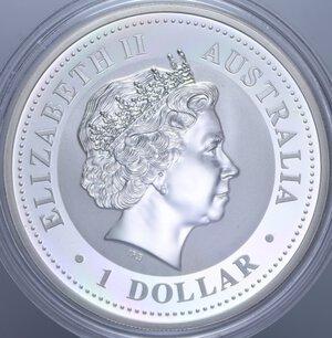 reverse: AUSTRALIA ELISABETTA II 1 DOLLARO 2005 GALLO AG. 31,11 GR. PROOF