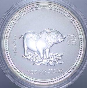 obverse: AUSTRALIA ELISABETTA II 1 DOLLARO 2007 MAIALE AG. 31,11 GR. PROOF
