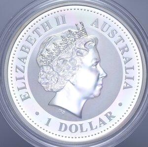 reverse: AUSTRALIA ELISABETTA II 1 DOLLARO 2007 MAIALE AG. 31,11 GR. PROOF