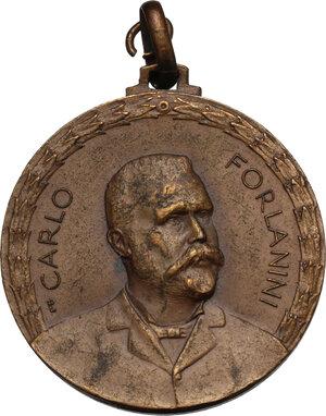 obverse: Carlo Forlanini (1847-1918), medico.. Medaglia 1928 per la VI conferenza contro la tubercolosi