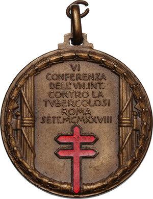 reverse: Carlo Forlanini (1847-1918), medico.. Medaglia 1928 per la VI conferenza contro la tubercolosi