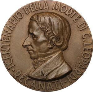 obverse: Giacomo Leopardi (1798-1837). Medaglia 1937 per il primo centenario della morte
