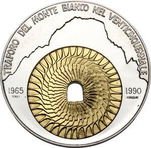 obverse: Medaglia bimetallica 1990 per il venticinquennale del traforo del Monte Bianco