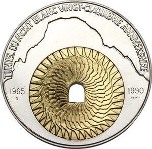 reverse: Medaglia bimetallica 1990 per il venticinquennale del traforo del Monte Bianco