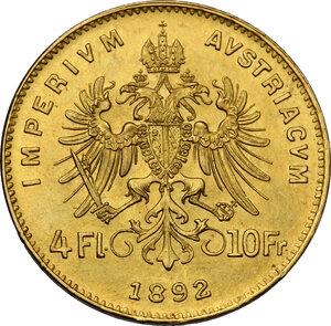 reverse: Austria.  Franz Joseph (1848-1916).. 4 Florins-10 Francs 1892 Restrike