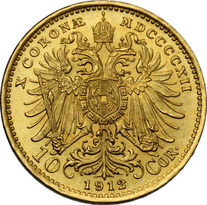 reverse: Austria.  Franz Joseph (1848-1916).. 10 Corona 1912
