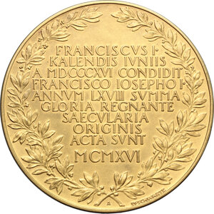 obverse: Austria.  Oesterreichische Nationalbank. Medal 1916, commemorating the foundation of Oesterreichische Nationalbank in 1816 by Francis I, the first Emperor of Austria