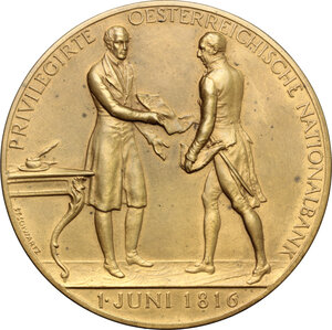 reverse: Austria.  Oesterreichische Nationalbank. Medal 1916, commemorating the foundation of Oesterreichische Nationalbank in 1816 by Francis I, the first Emperor of Austria