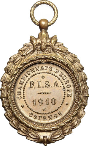 reverse: Belgium. Medal 1910, European Rowing Championships, Ostend