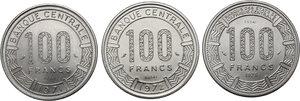 reverse: Cameroun.  Republic. Lot of three (3) Patterns : 100 Francs 1971, 1972 and 1975