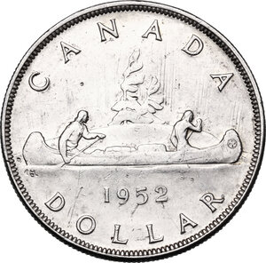 reverse: Canada.  George VI (1936-1952). Dollar 1952