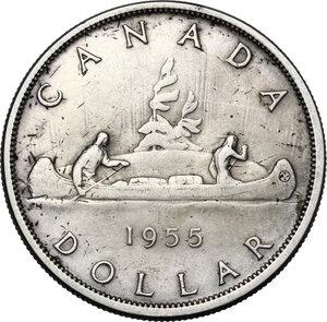 reverse: Canada.  Elizabeth II (1952 -). Dollar 1955
