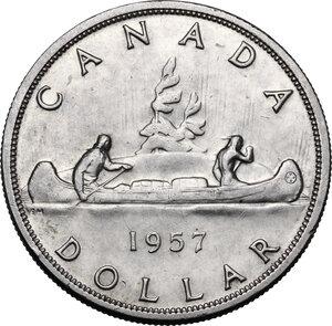 reverse: Canada.  Elizabeth II (1952 -). Dollar 1957