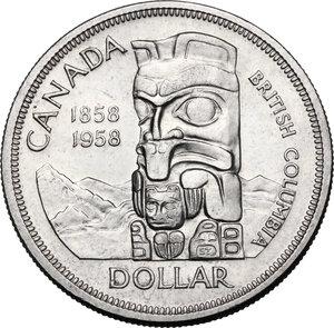 reverse: Canada.  Elizabeth II (1952 -). Dollar 1958