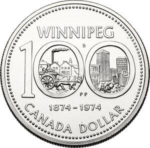 reverse: Canada.  Elizabeth II (1952 -). Dollar 1974