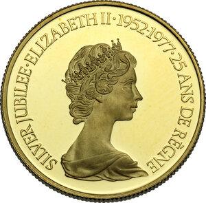 obverse: Canada.  Elizabeth II (1952 -). AV 100 Dollars 1977 for the II silver jubilee