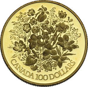 reverse: Canada.  Elizabeth II (1952 -). AV 100 Dollars 1977 for the II silver jubilee