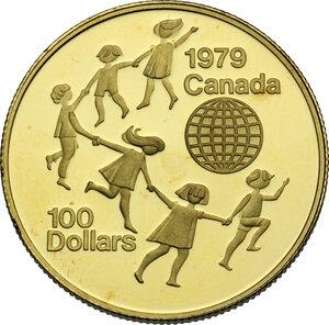 reverse: Canada.  Elizabeth II (1952 -). AV 100 Dollars 1979 Children around globe