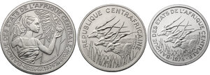 obverse: Central African States.  Monetary Union. Lot of three Pattern Essais: 500 Francs 1976 A, Tchad, 100 Francs 1975, Franc 1974 A, Tchad