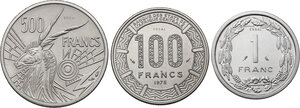 reverse: Central African States.  Monetary Union. Lot of three Pattern Essais: 500 Francs 1976 A, Tchad, 100 Francs 1975, Franc 1974 A, Tchad