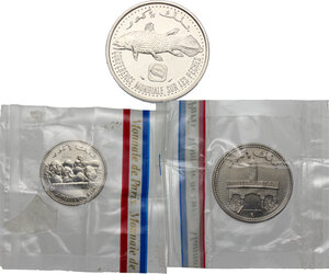 obverse: Comoros.  Federal Islamic Republic. Banque Centrale coinage.. Lot of three (3) Pattern Essais: 50 Francs 1975, 25 Francs 1982 and 5 Francs 1984