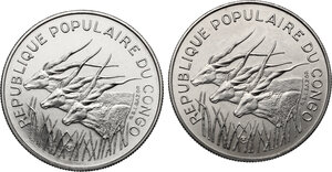 obverse: Congo.  Republic. Lot of two (2) Pattern Essais 100 Francs 1971 and 1975