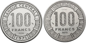 reverse: Congo.  Republic. Lot of two (2) Pattern Essais 100 Francs 1971 and 1975