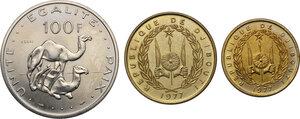 obverse: Djibouti.  Republic. Lot of three (3) Pattern Essais: 100 Francs 1977, 20 Francs 1977 and 10 Francs 1977