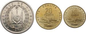 reverse: Djibouti.  Republic. Lot of three (3) Pattern Essais: 100 Francs 1977, 20 Francs 1977 and 10 Francs 1977