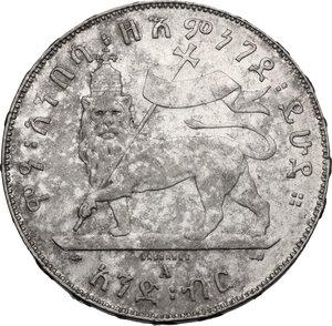 reverse: Ethiopia.  Menelik II (1889-1913). Birr 1889 A