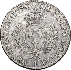 reverse: France.  Louis XVI (1774-1793).. Ecu 1790 I, Limoges mint