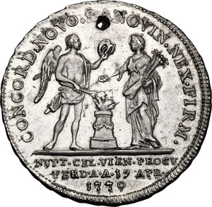 reverse: France.  Marie Antoniette (1755-1793).. Token 1770. Commemorating The Marriage of Marie Antoniette with   Louis the Dauphin of France