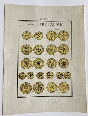 obverse: France. Plate from unidentified numismatic book, depicting coins of the Ducs of Bretagne
