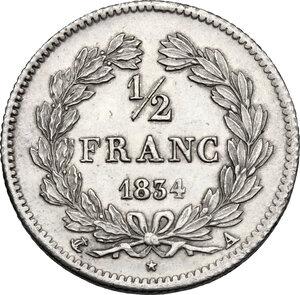 reverse: France.  Louis Philippe I (1830-1848). . 1/2 Franc 1834 Paris