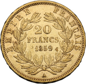 reverse: France.  Napoleon III (1852-1870). 20 Francs 1859 A, Paris mint