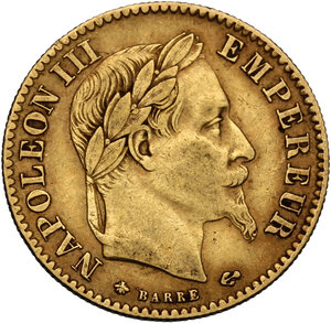 obverse: France.  Napoleon III (1852-1870).. 10 Francs 1868 A Paris